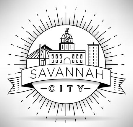 Minimal Savannah Linear City Skyline with Typographic Design Zdjęcie Seryjne - 74462500