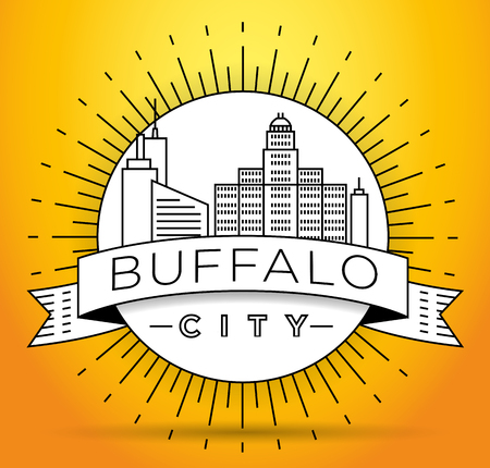 Minimal Buffalo Linear City Skyline with Typographic Design