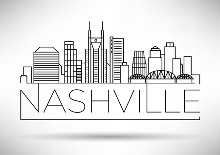 Minimal Nashville Linear City Skyline with Typographic Design Stock Vector - 74462505