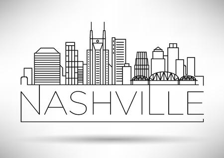 Minimal Nashville Linear City Skyline with Typographic Design Illustration