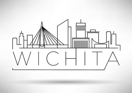 Minimal Wichita Linear City Skyline with Typographic Design Stock Vector - 74462508