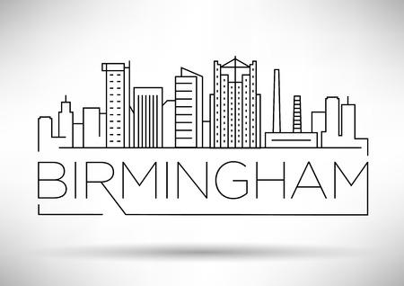 Minimal Birmingham Linear City Skyline with Typographic Design
