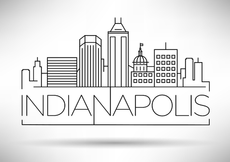 Minimal Indianapolis Linear City Skyline with Typographic Design Stock Vector - 74462532