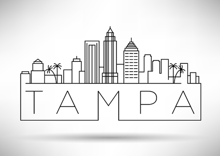Minimal Tampa Linear City Skyline with Typographic Design