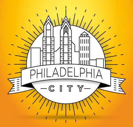 Minimal Philadelphia Linear City Skyline with Typographic Design