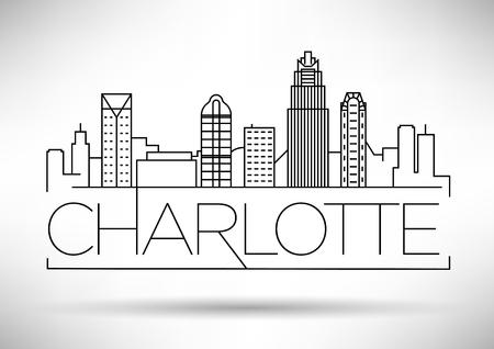 Skyline de ville linéaire minimal de Charlotte avec Design typographique