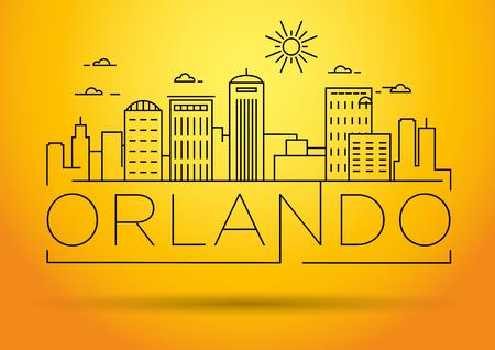 Minimal Orlando Linear City Skyline with Typographic Design Illusztráció