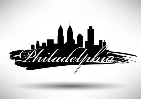 フィラデルフィア市のスカイラインのベクトル グラフィック デザイン