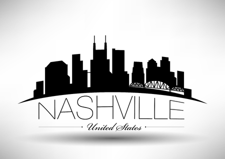 Vector Graphic Design of Nashville City Skyline Stock fotó - 77925979