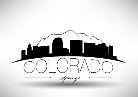 Vector Graphic Design of Colorado Springs City Skyline Illustration