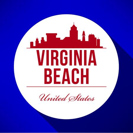 ヴァージニア ビーチの街のスカイラインのベクトル グラフィック デザイン