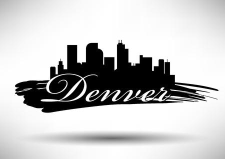 デンバー市のスカイラインのベクトル グラフィック デザイン