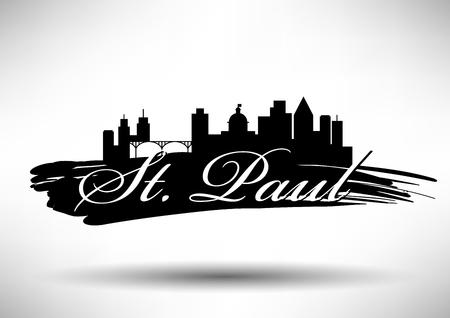 Vector Graphic Design of St. Paul City Skyline Illustration