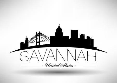 Vector Graphic Design of Savannah City Skyline