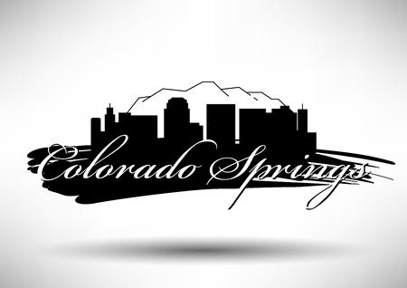 colorado springs: Vector Graphic Design of Colorado Springs City Skyline Illustration