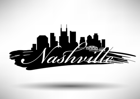 Vector Graphic Design of Nashville City Skyline Illustration