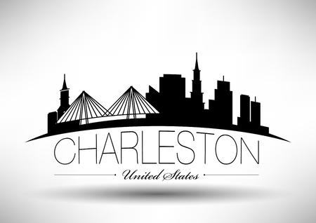 チャールストン市のスカイラインのベクトル グラフィック デザイン  イラスト・ベクター素材