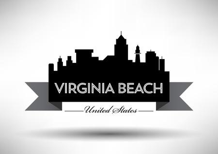 Conception graphique de vecteur de la ville de Virginia Beach Skyline