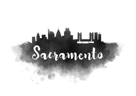 Watercolor Sacramento City Skyline