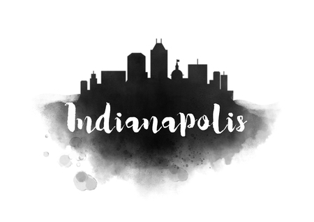 Watercolor Indianapolis City Skyline