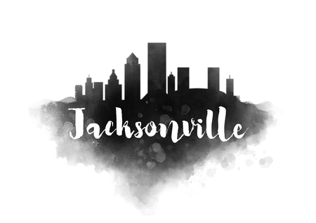 jacksonville: Watercolor Jacksonville City Skyline