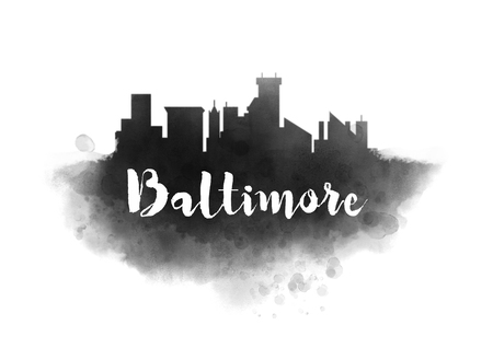 Watercolor Baltimore City Skyline Stock Photo