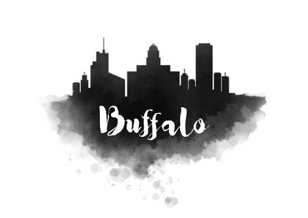 Watercolor Buffalo City Skyline Stock Photo