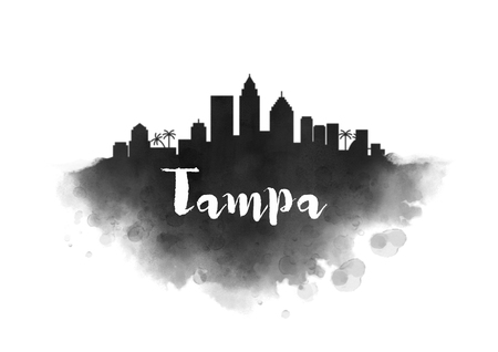 Watercolor Tampa City Skyline Banco de Imagens