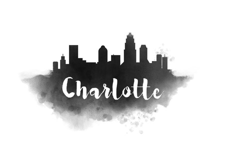 Watercolor Charlotte City Skyline