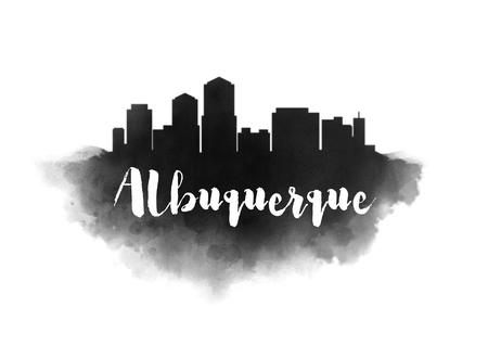 Watercolor Albuquerque City Skyline