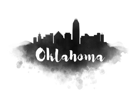 oklahoma city: Watercolor Oklahoma City Skyline