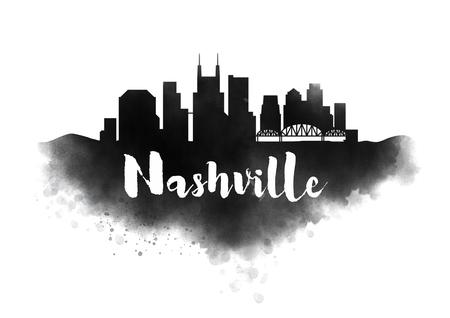 Watercolor Nashville City Skyline