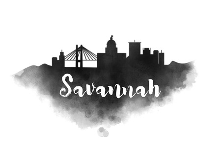 Watercolor Savannah City Skyline Banco de Imagens