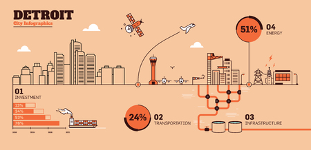 Detroit City Flat Design Infrastructure Infographic Template