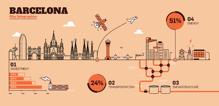 Barcelona City Flat Design Infrastructure Infographic Template 向量圖像