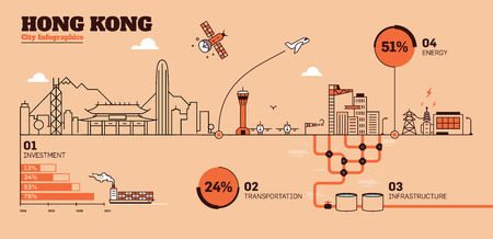 Hong Kong City Flat Design Infrastructure Infographic Template