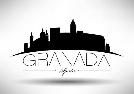 Vector grafisch ontwerp van de Skyline van de stad Granada