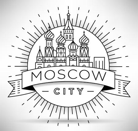 Minimale lineare Skyline der Stadt Moskau mit typografischem Design Vektorgrafik