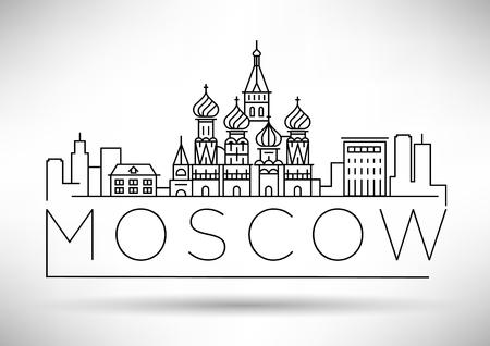 Minimale lineare Skyline der Stadt Moskau mit typografischem Design