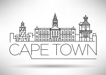 Minimal Cape Town City Linear Skyline with Typographic Design Иллюстрация