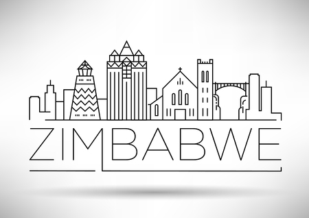 Minimal Zimbabwe Linear Skyline with Typographic Design