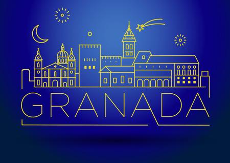 Minimale lineare Skyline von Granada City mit typografischem Design Vektorgrafik