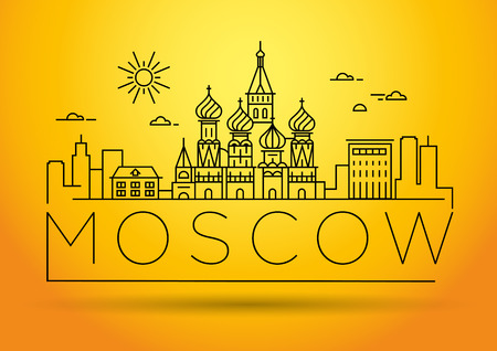 Minimal Moscow City Linear Skyline with Typographic Design Illustration