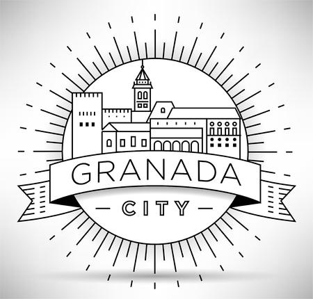 Minimal Granada City Linear Skyline with Typographic Design Vectores