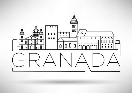 Lineaire Skyline van de minimale stad Granada met typografisch ontwerp