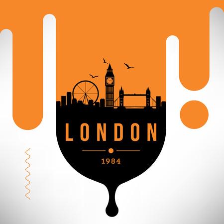 London Modern Web Banner Design with Vector Skyline