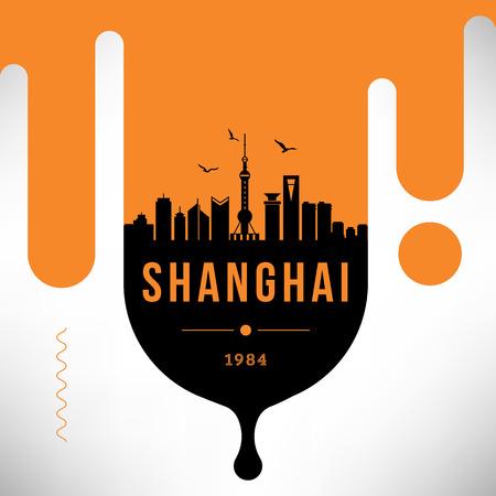 Shanghai Modern Web Banner Design with Vector Skyline Illustration