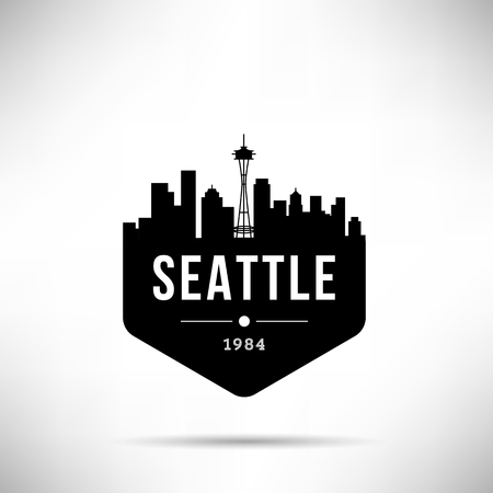 Seattle City Modern Skyline Vector Template