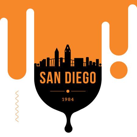 San Diego City Modern Skyline Vector Template Illusztráció