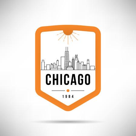 Chicago City Modern Skyline Vector Template